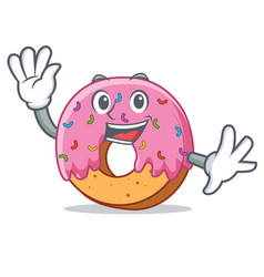Waving donut character cartoon style vector