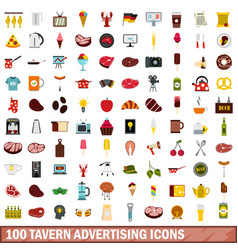 100 tavern advertising icons set flat style vector