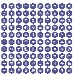 100 weather icons hexagon purple vector
