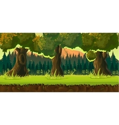 Sunset forest game background vector