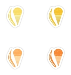 Set of paper stickers on white background banana vector image