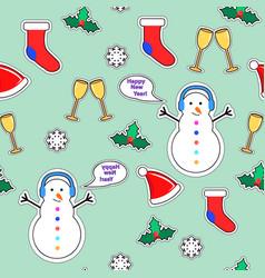 Snowman sock speech bubble mistletoe snowflake vector
