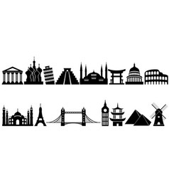 World famous travel landmarks and monuments vector