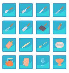 cookware icon blue app vector image