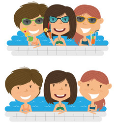 Beautiful cheerful girls relaxing and drinking vector