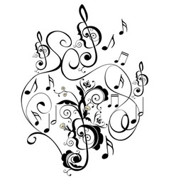 Music notes floral ornament vector