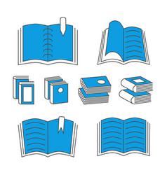 Thin line book icons with color elements isolated vector