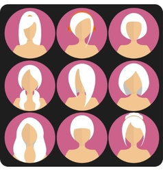 Flat womens glamor hairstyles pink icon set vector