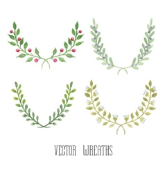 Watercolor floral set of wreaths vector