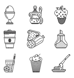 Breakfast menu black line icons vector