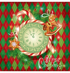 Card with watch candy xmas gingerbread vector