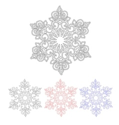 Set of four isolated pattern snowflakes vector