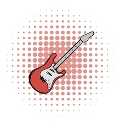 Red electric guitar comics icon vector