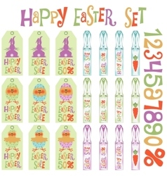 Easter tags set vector