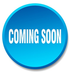 Coming soon blue round flat isolated push button vector