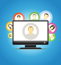 monitor and social media members vector image