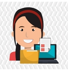 Computer user filing documents isolated icon vector
