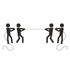 Teamwork competition pull rope people vector