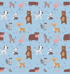 Animals cartoon wildlife nature seamless pattern vector