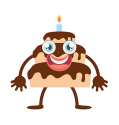 cartoon chocolate cake party vector image