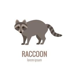 Flat raccoon logo vector image