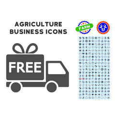 Free delivery icon with agriculture set vector