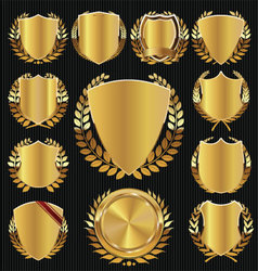Golden shield and laurel wreath collection vector