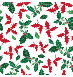 holly berry holiday seamless pattern vector image vector image