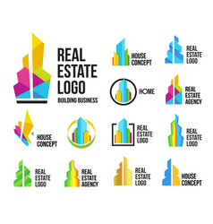 Isolated colorful real estate agency logos set vector