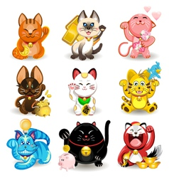 Maneki Neko Fortune Cat Collection vector image