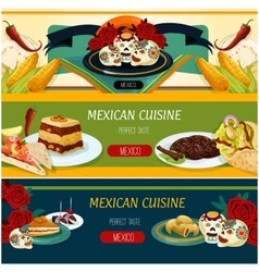 Mexican cuisine banner set with snack and dessert vector