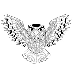 Owl coloring for adults vector image