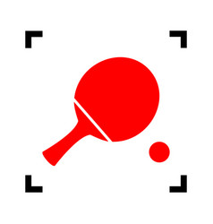 Ping pong paddle with ball red icon vector