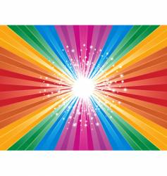 rainbow starburst background vector image vector image