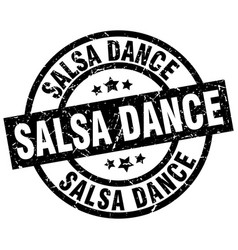 Salsa dance round grunge black stamp vector