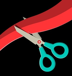 Scissors Cutting Red Ribbon on Black Background vector image