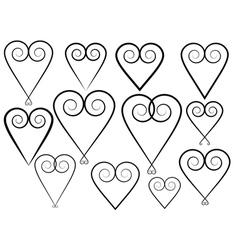 set of vintage valentines vector image