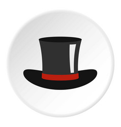 Silk hat icon circle vector