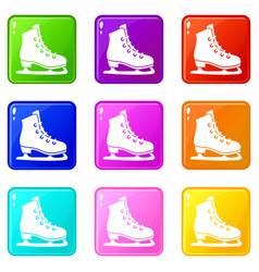 skates icons 9 set vector image vector image