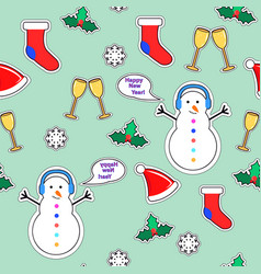 Snowman sock speech bubble mistletoe snowflake vector