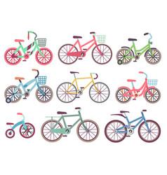 urban family bikes flat set different vector image