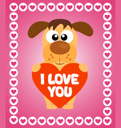 Valentines day background card with dog vector