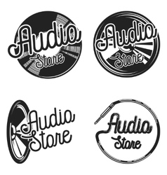 Vintage audio store emplems vector