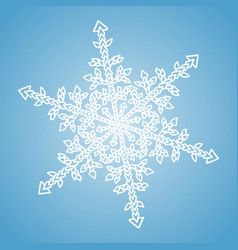 Winter white snowflake on blue background vector