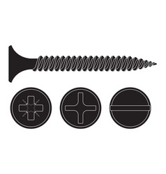 wood screw black fastener with various drives - vector image vector image