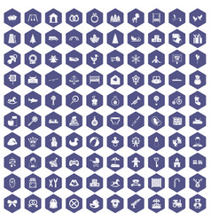 100 baby icons hexagon purple vector