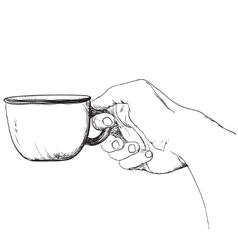 Cup of coffee Hot drink in the hand vector image