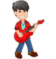Cute boy cartoon playing guitar vector