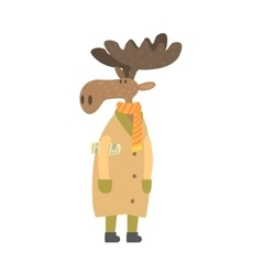 Moose in long coat with newspaper under arm vector