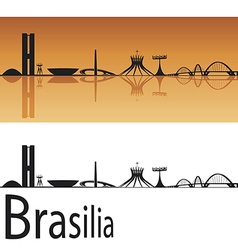 Brasilia skyline in orange background vector
